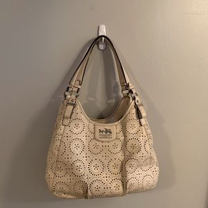 Coach Cream Madison Maggie Laser Cut Bag